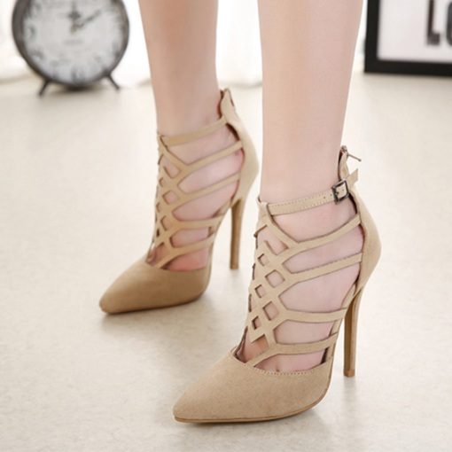 Suede Mid-Cut Stiletto Heel Zipper Stylish Women's Sandals