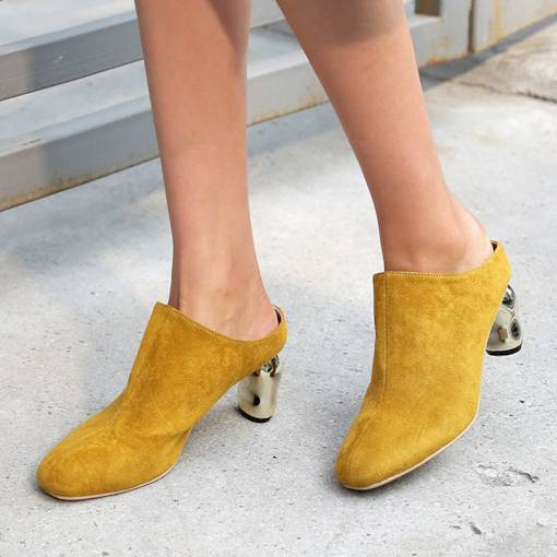 Chunky Heel Suede Customized Women's Pointed Toe Mules