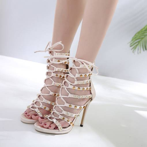 Heel Covering Cross Strap Rhinestone Rivet Sexy Women's Sandals