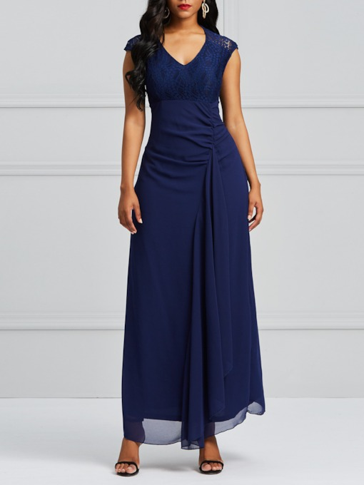 V-Neck Lace High Waist Maxi Dress