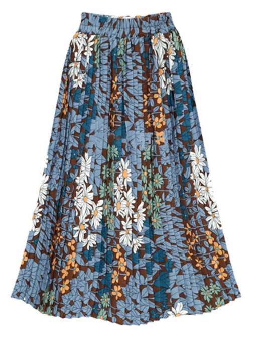 Floral Print Pleated Elastic Waist Women's Maxi Skirt