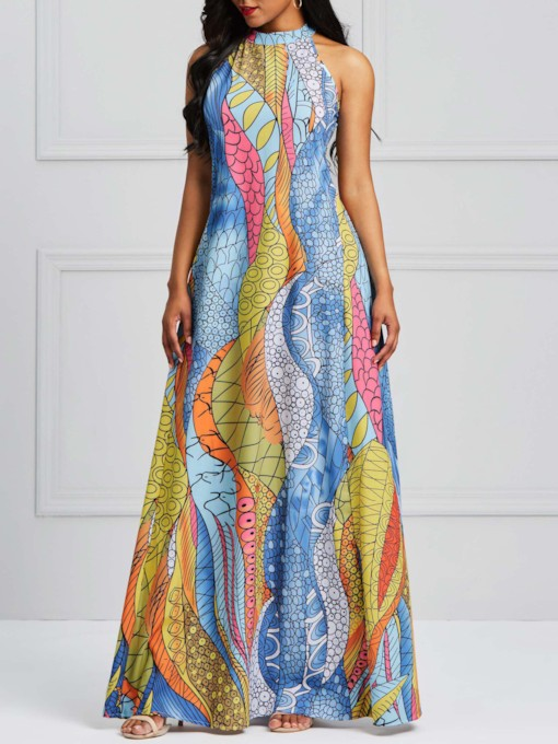Sleeveless Color Block Print Geometric Women's Maxi Dress