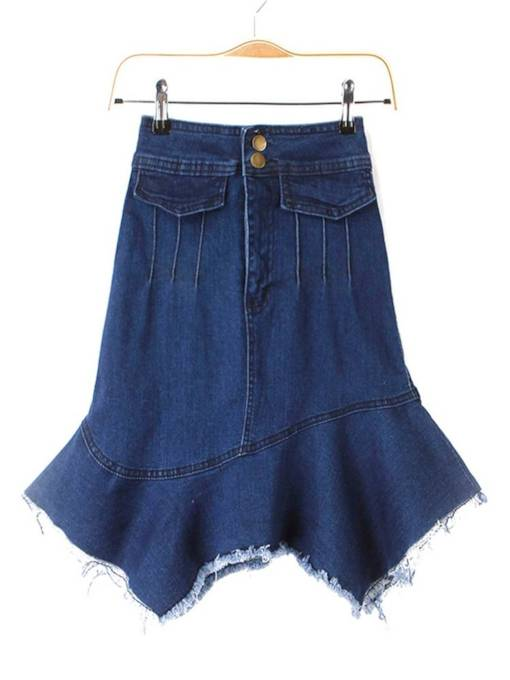 Denim Asymmetric Front Button Women's Skirt