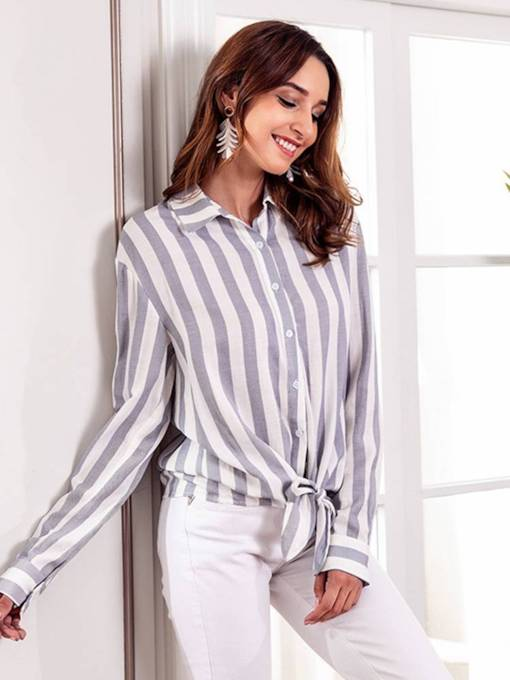 Stripe Tie Front Button Down Long Sleeve Women's Shirt