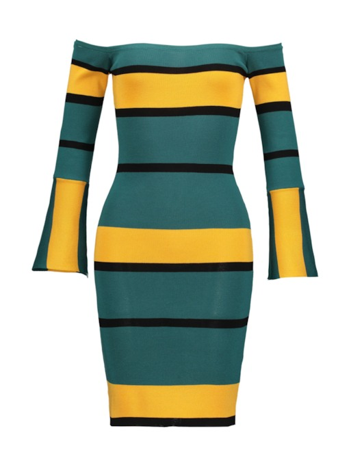 Off Shoulder Bell Sleeve Stripe Knit Dress