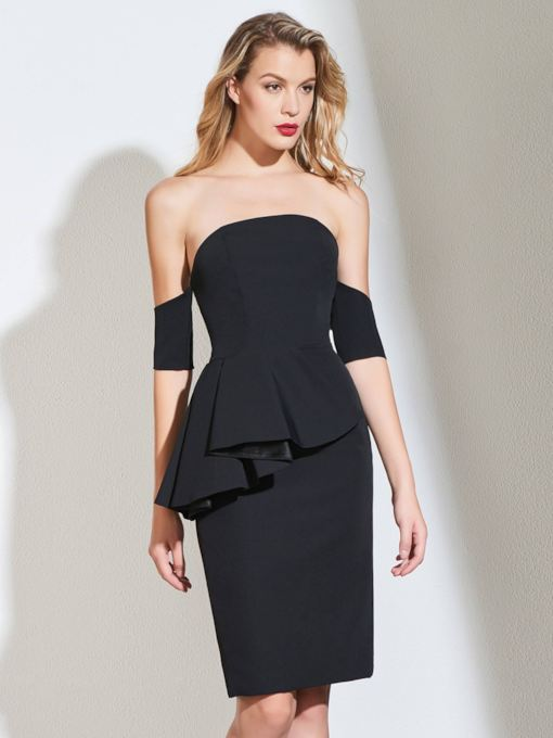 Sheath Off-the-Shoulder Ruffles Cocktail Dress