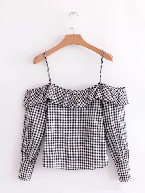 Straps Flabala Off Shoulder Plaid Women's Blouse