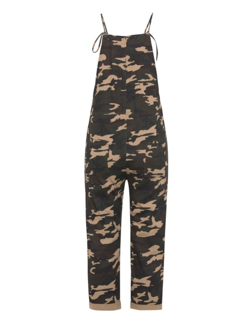 Army Green Square Neck Camo Strap Women's Harem Overalls