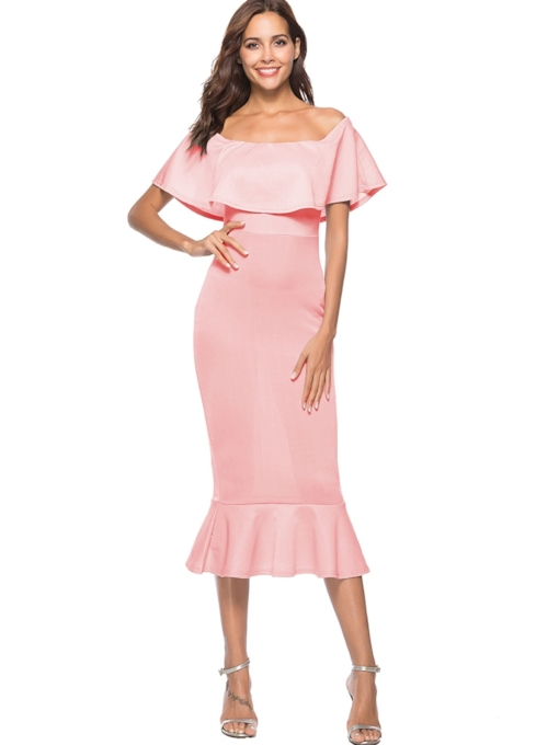 Off Shoulder Elegant Zip Mermaid Sheath Dress