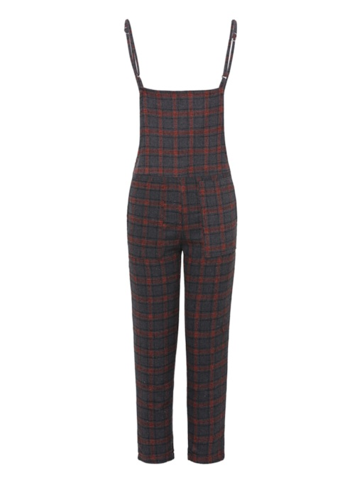 Plaid Pocket Loose Women's Overalls