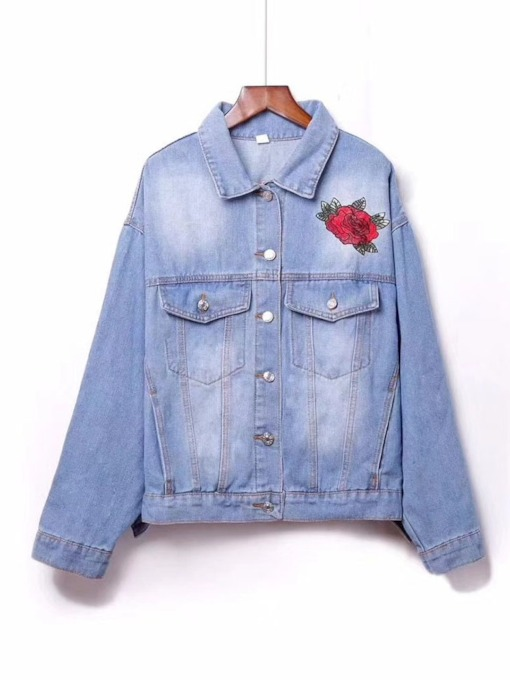 Floral Embroidery Classic Women's Denim Jacket