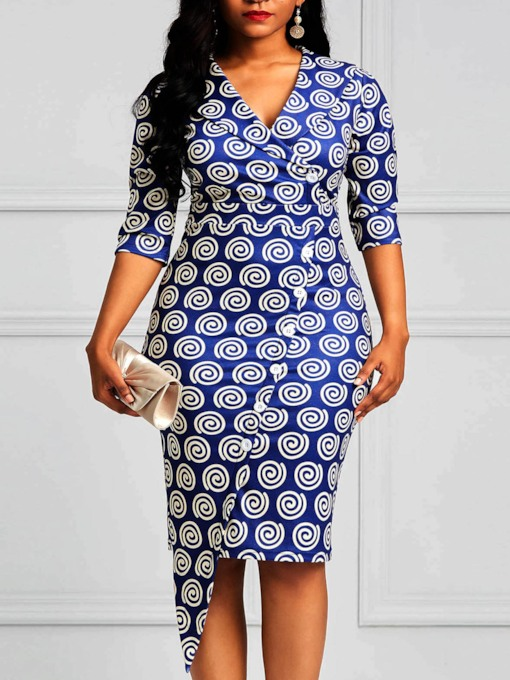 Geometric Button V-Neck Prints Women's Bodycon Dress