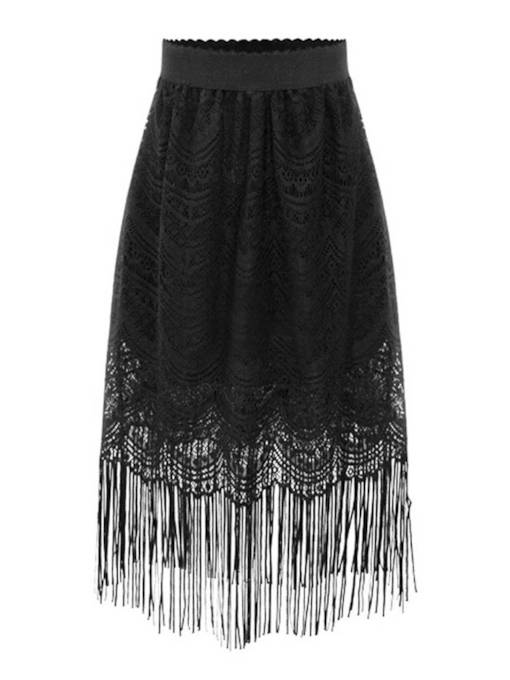 Lace Tassel Hollow High Waist Women's Skirt