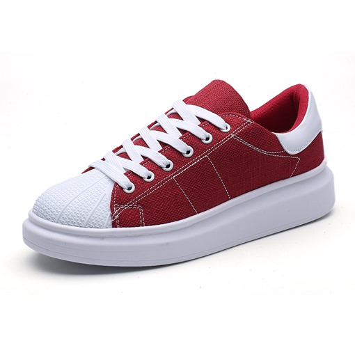 Lace-Up Thread Round Toe Chic Canvas Men's Sneakers