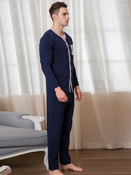 Cotton Single-Breasted Men's Pajamas Set