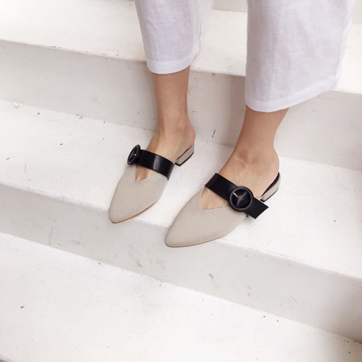 Slip-On Mesh Closed Toe Buckle Elegant Women's Pointed Toe Mules