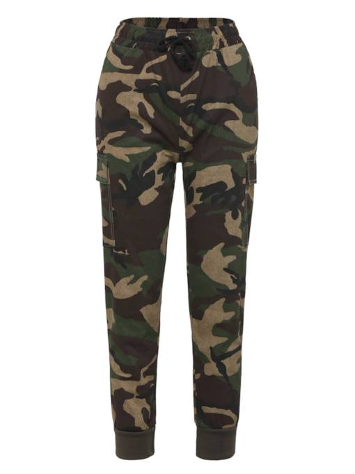 Camo Print One Button Women's Casual Pants