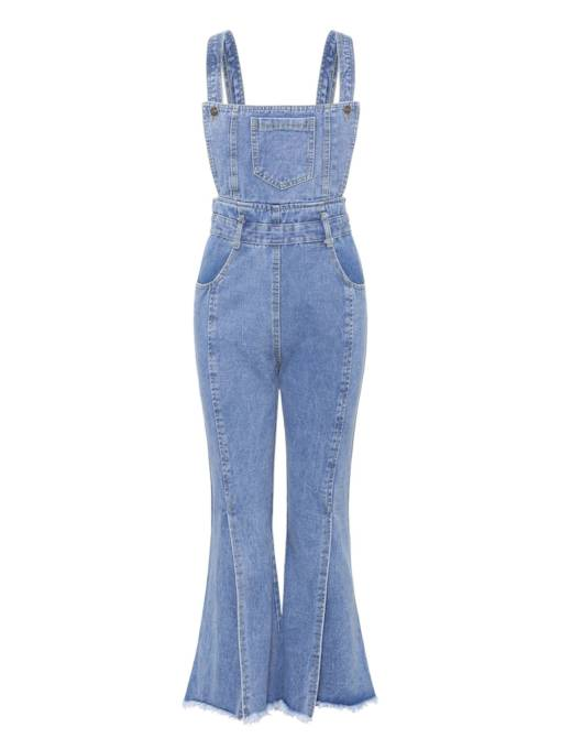 Split Raw Edge Denim Bellbottom Women's Overalls