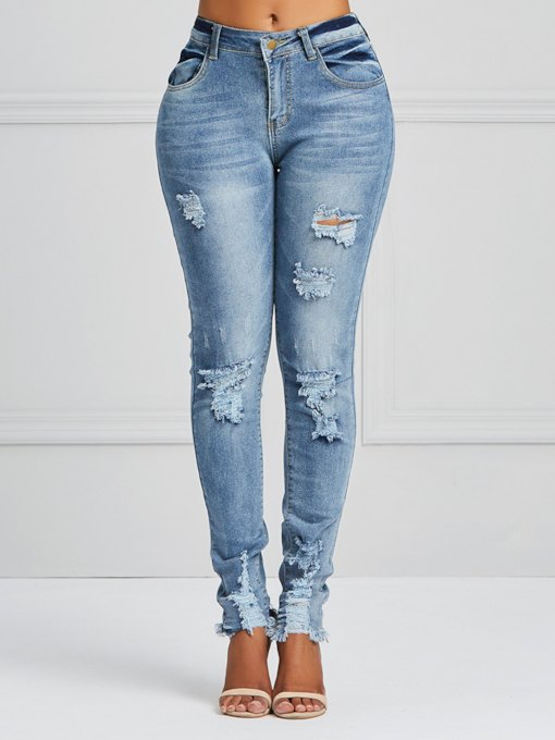 Trendy Skinny Hole Women's Jeans