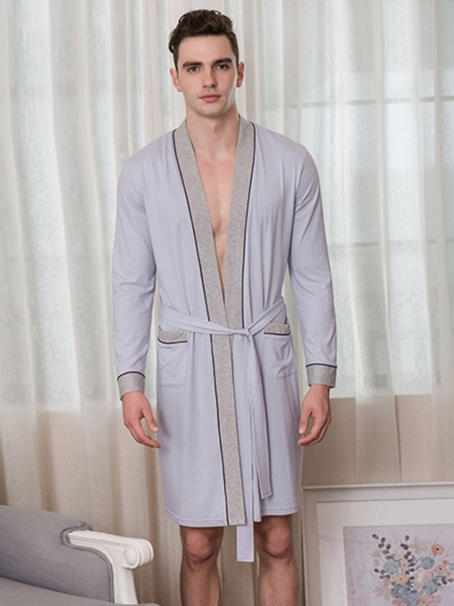 Plain Long Sleeve Cotton Men's Night-Robes