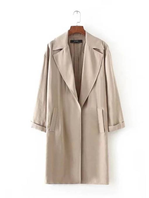 Mid Length Pure Color Straight Women's Trench Coat