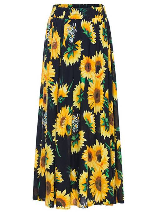 Daisy Print Pleated Long Women's Maxi Skirt