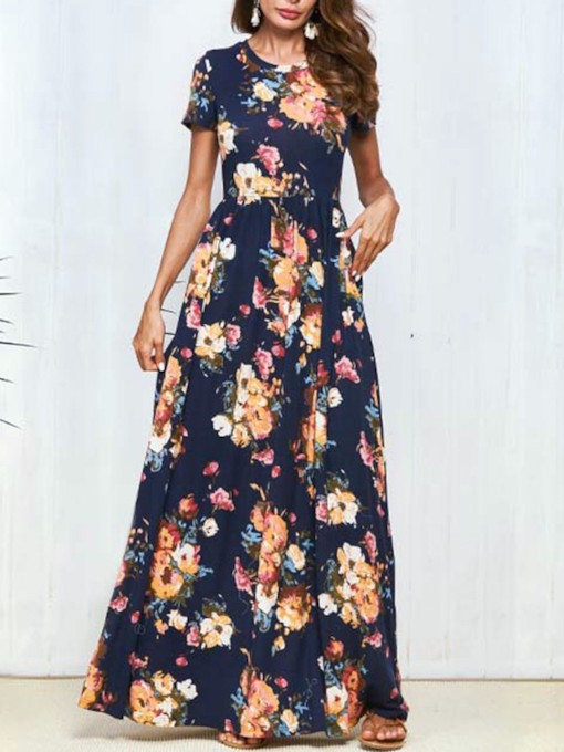 Floral Printing Short Sleeve Women's Maxi Dress