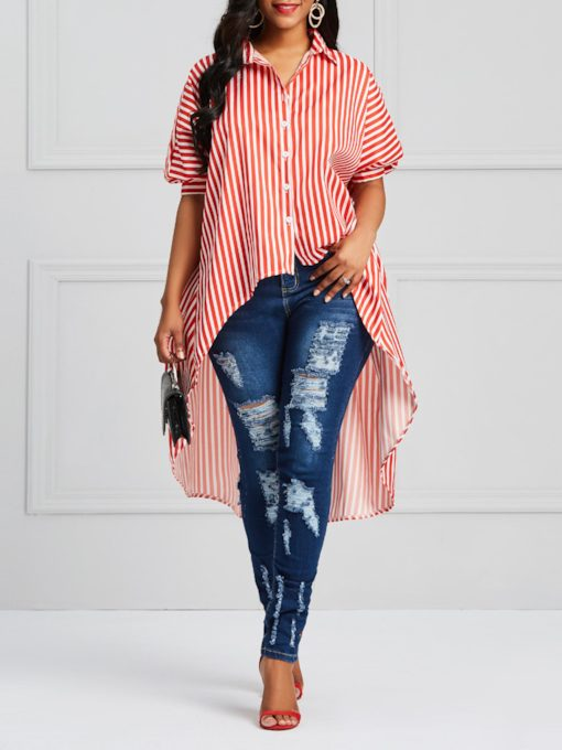 Color Block Stripe Mid-Length Asymmetric Women's Blouse