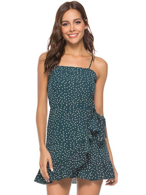 Spaghetti Strap Travel Look Prints Dress
