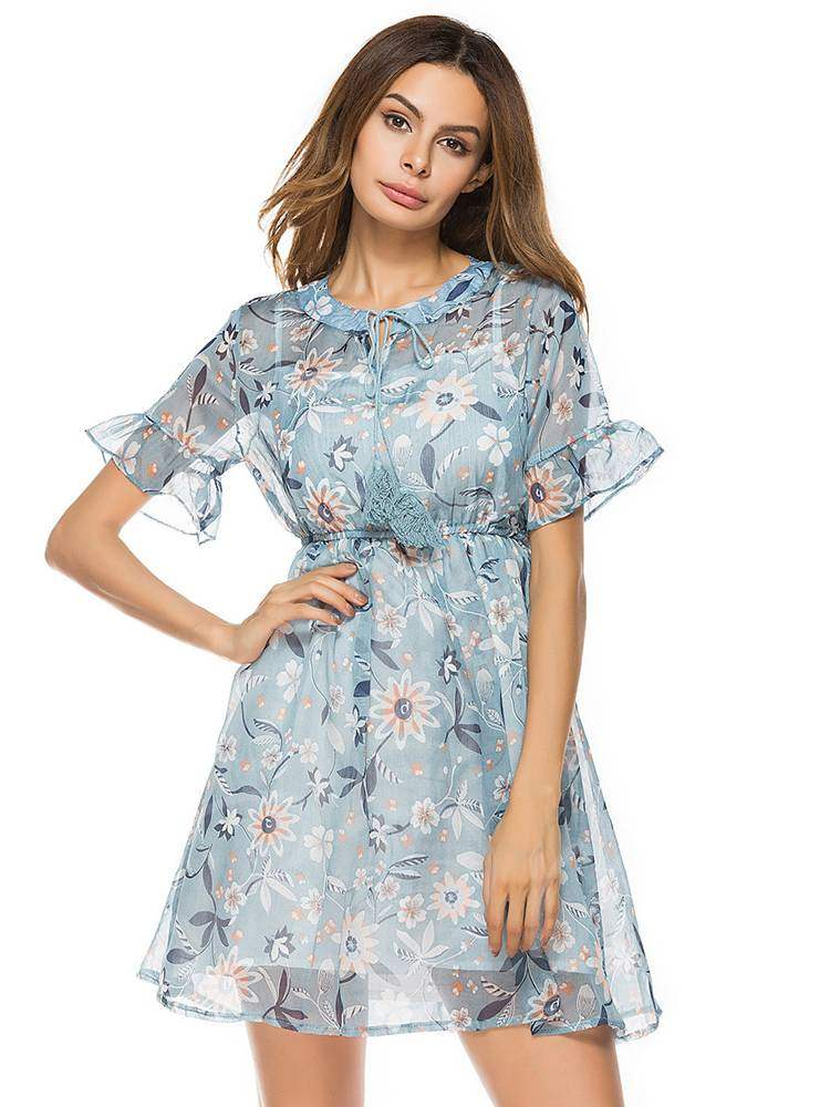 Buy Round Neck Short Sleeve Floral Prints Day Dress, Summer, 13353336 for $12.87 in TBDress store