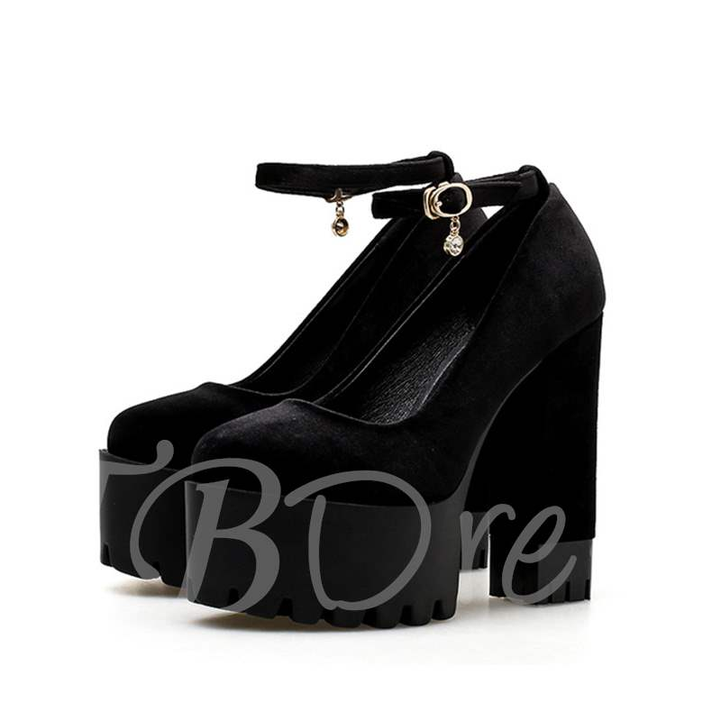 Buy Line-Style Buckle Suede Round Toe Chunky Heel Banquet Women's Pumps, Spring,Summer, 13353885 for $52.70 in TBDress store
