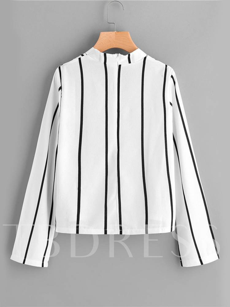 Choker Stripe Print Long Sleeve Women's Blouse