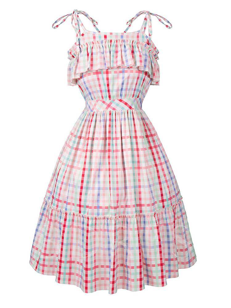 Buy Spaghetti Strap Vintage A-Line Day Dress, Summer, 13353338 for $19.12 in TBDress store