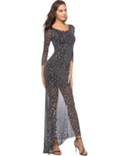 3/4Length Sleeve Floor-Length Maxi Dress