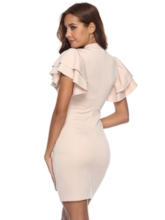 Ruffle Sleeve Stand Collar Plain Bodycon Dress