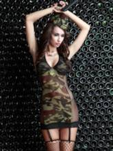 Halter See-Through Camouflage Military Costume