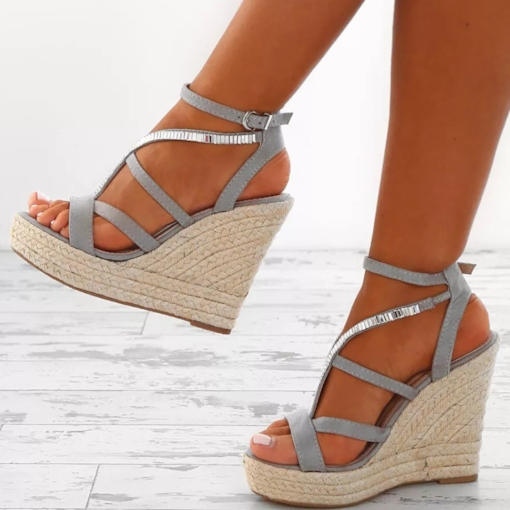 Espadrille Rhinestone Wedge Heel Strappy Buckle Women's Sandals