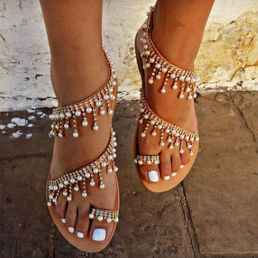 Rhinestone Beads Toe Ring Ankle Strap Stylish Women's Sandals