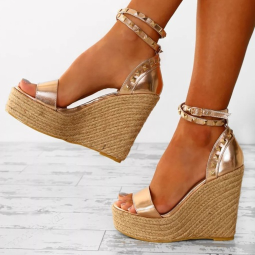 Line-Style Buckle Rivet Wedge Heel Espadrille Women's Sandals