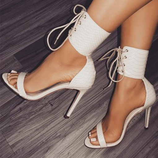 Lace-Up Open Toe Heel Covering High-Cut Women's Sandals