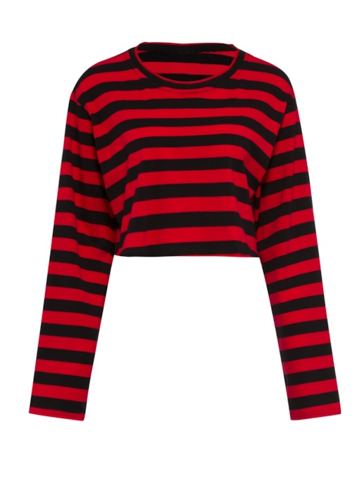 Stripe Cropped Round Neck Women's Simple T-Shirt