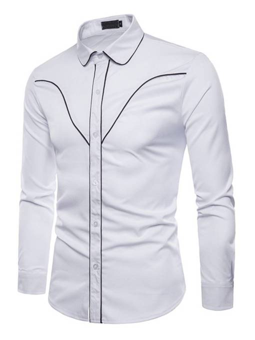 Contrast Trim Plain Slim Men's Shirt