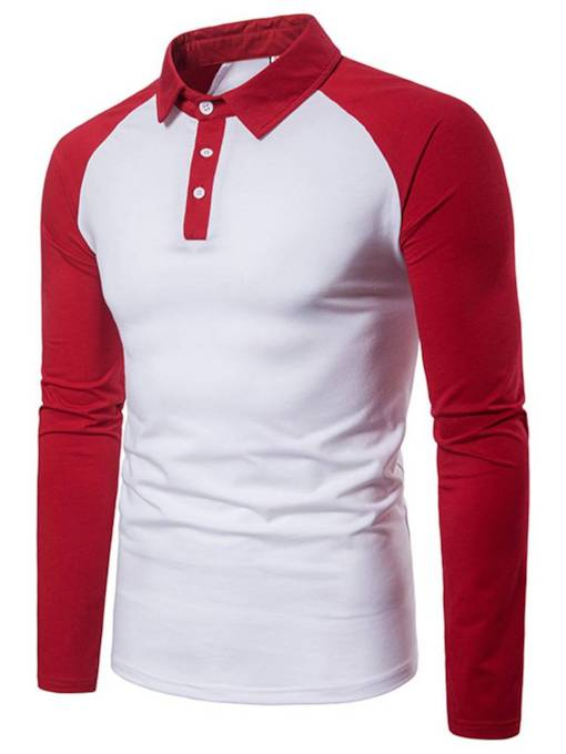 Raglan Sleeve Patchwork Slim Men's Polo