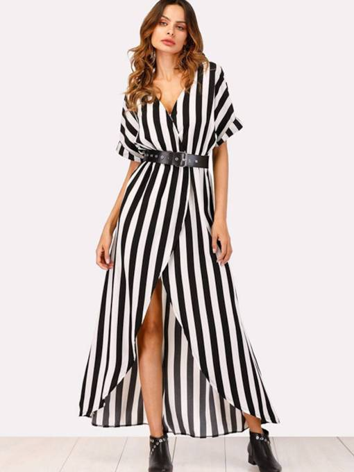 V-Neck Belt High Split Stripe Maxi Dress