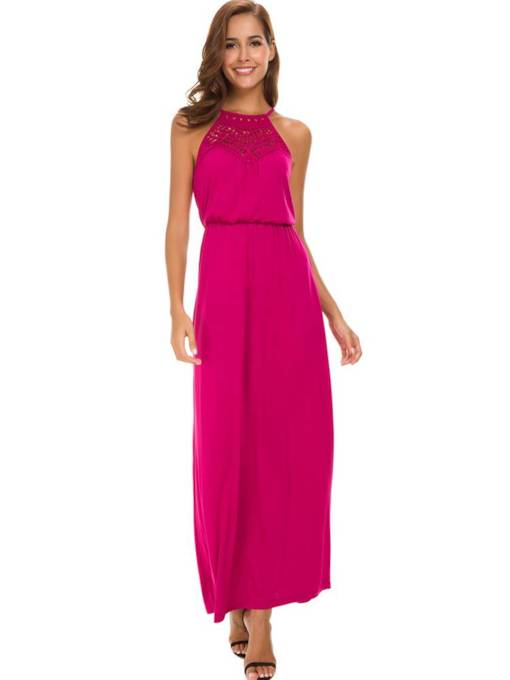 Summer Elegant High Waist Sleeveless Maxi Dress