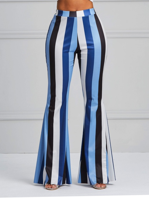 Print Stripe Skinny Bellbottoms Women's Casual Pants