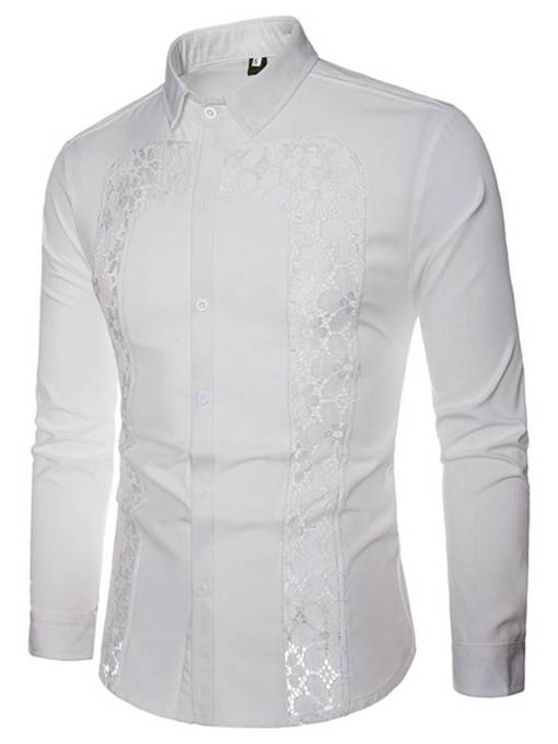 Lapel Hallow Lace Plain Men's Shirt