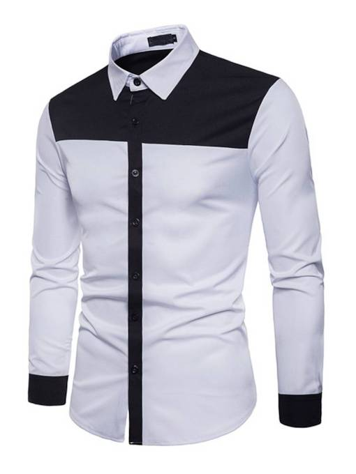 Lapel Patchwork Plain Slim Men's Dress Shirt