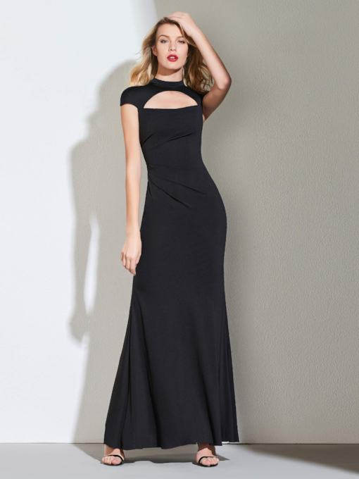High Neck Hollow Cap Sleeves Sheath Evening Dress