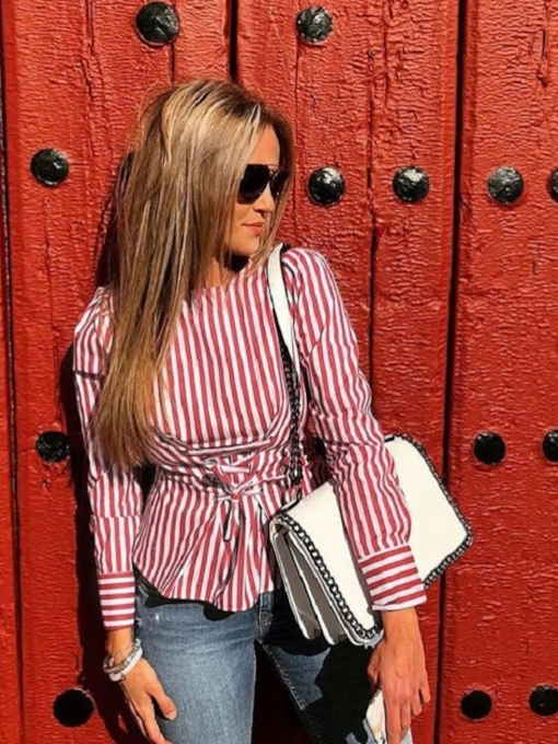 Lace Up Stripe Zipper Tight Waist Women's Blouse